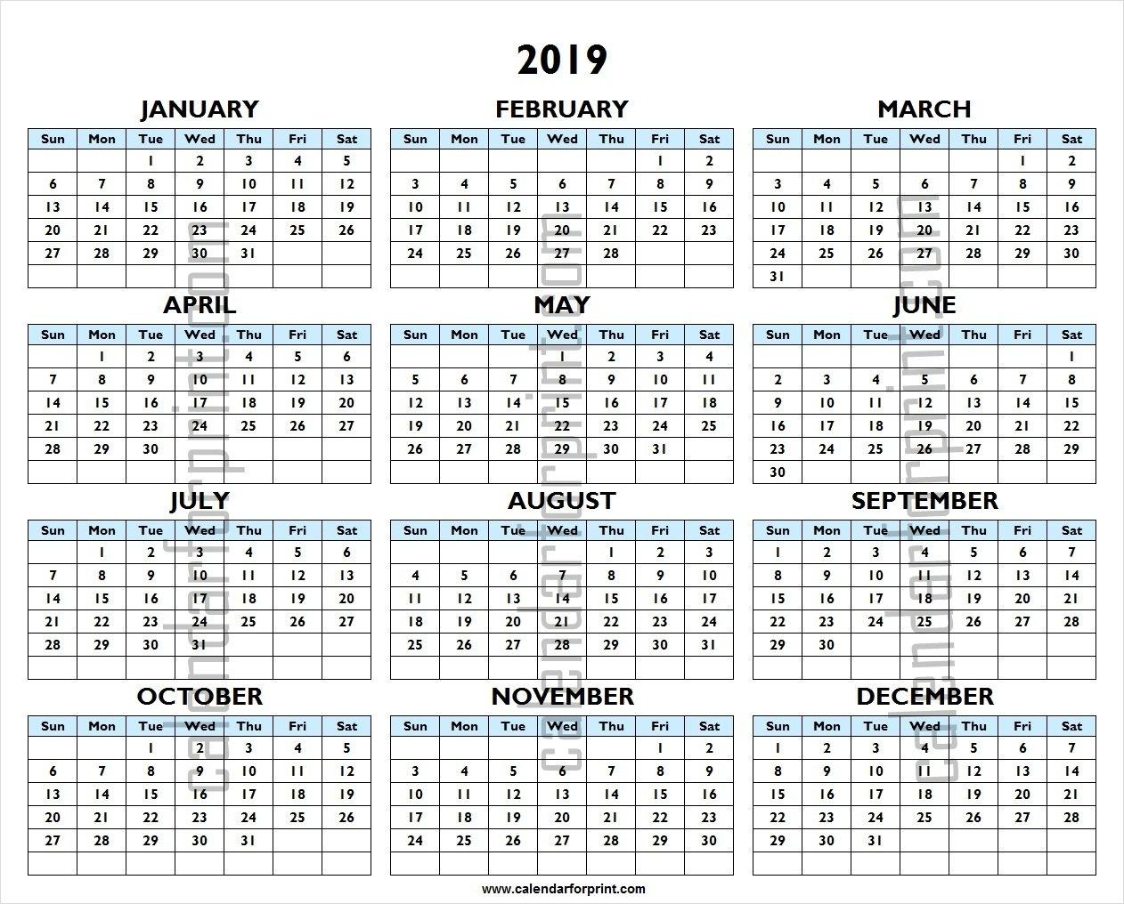 Printable 2019 Calendar | One Year 2019 Excel Template 1 Year Calendar 2019