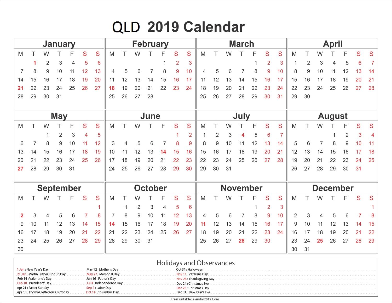 Printable 2019 Calendar Qld | Printable Calendar 2019 Calendar 2019 Qld