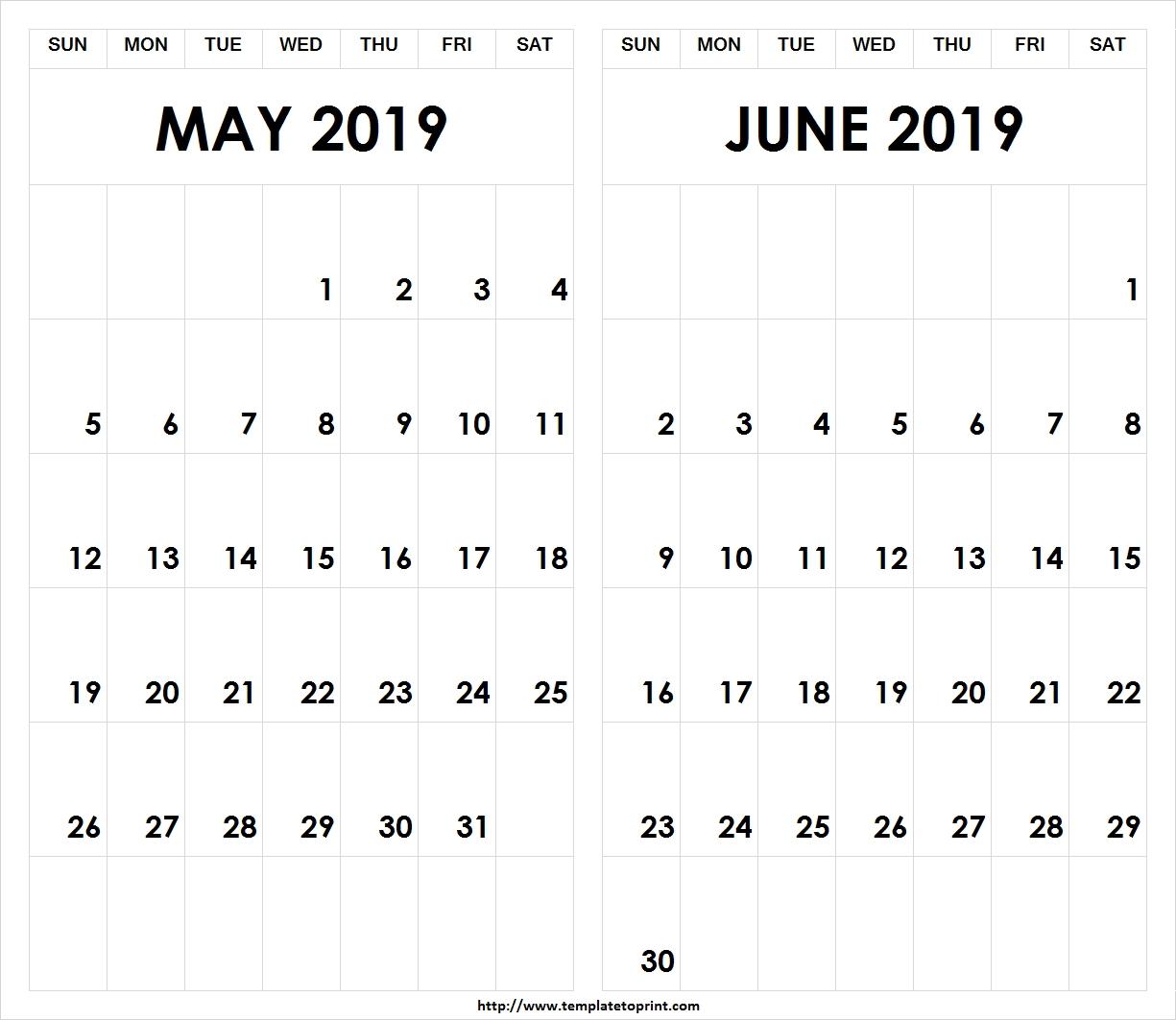 Printable-2019-May-June-Calendar » Template To Print Calendar 2019 May June