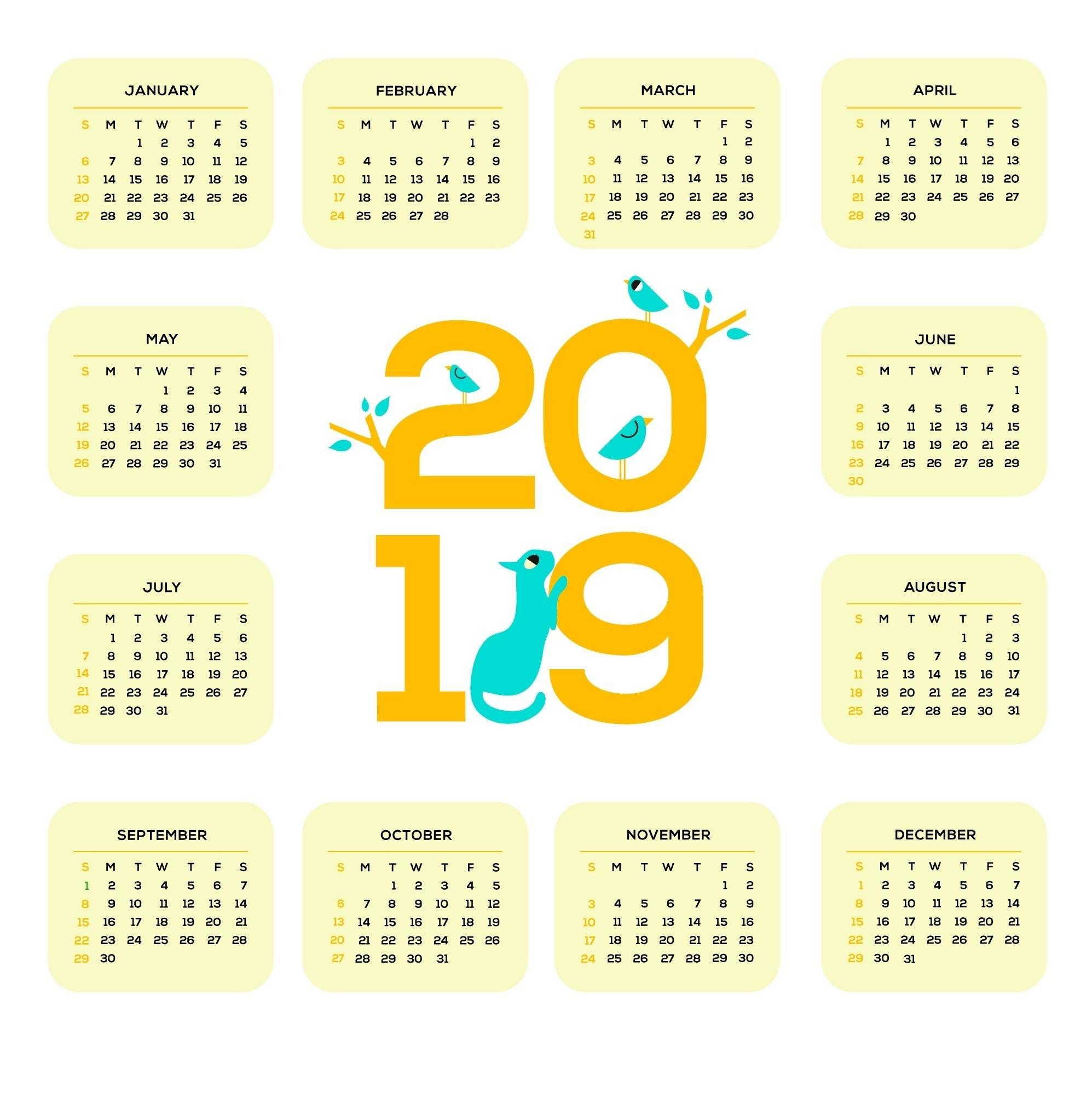 Printable 2019 One Page Calendar | Monthly Calendar Templates Calendar 2019 1 Page