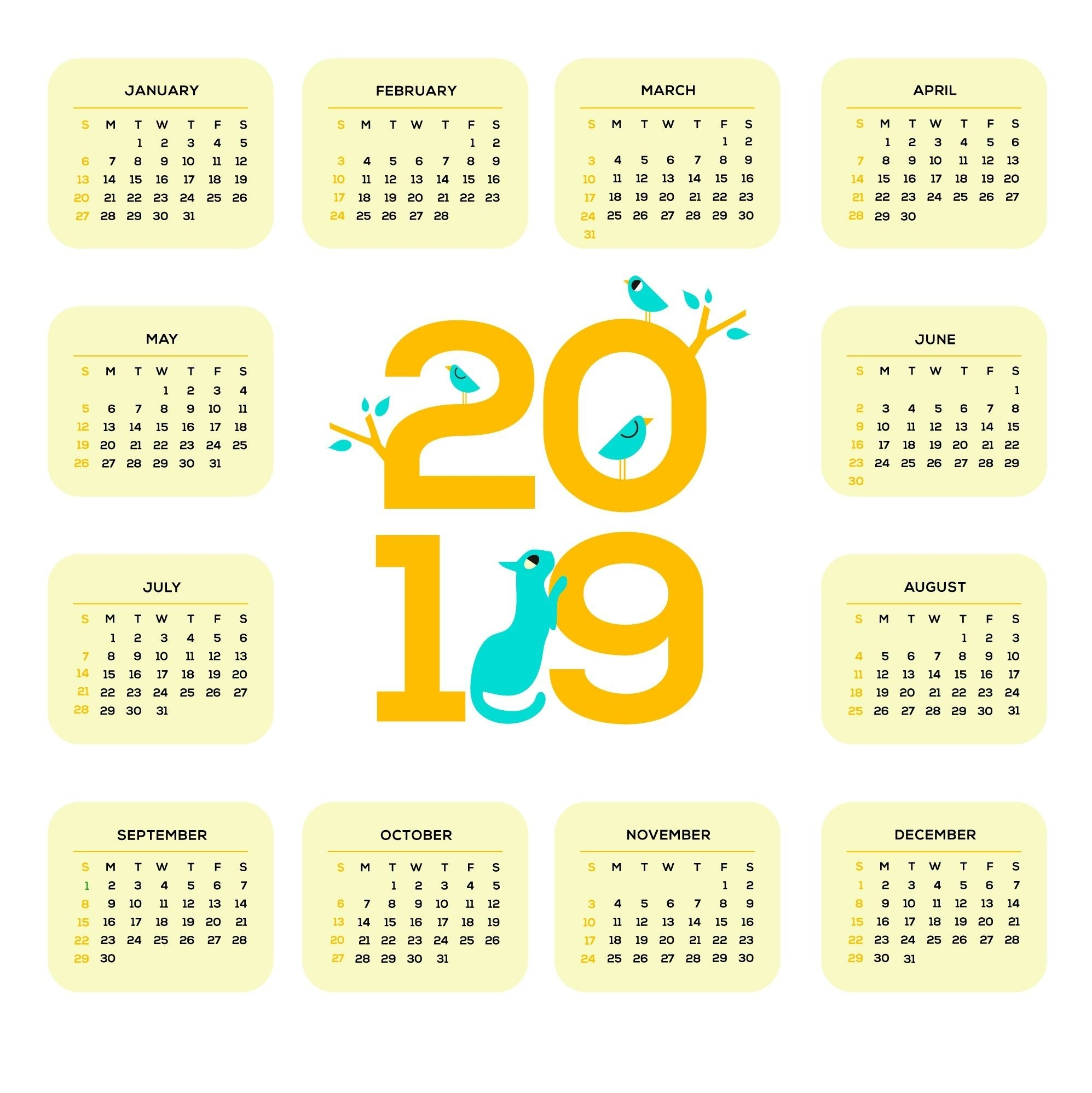 Printable 2019 One Page Calendar   Monthly Calendar Templates Calendar 2019 One Page
