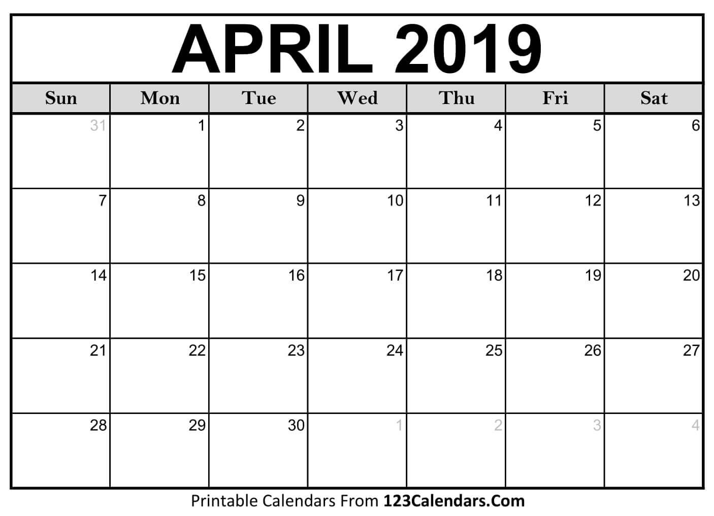 Printable April 2019 Calendar Templates - 123Calendars Calendar Of 2019 April