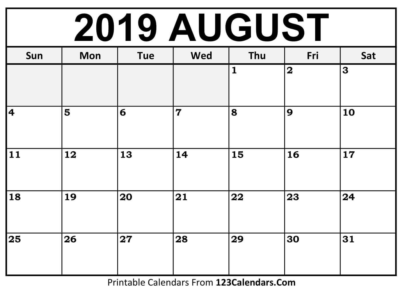 Printable August 2019 Calendar Templates - 123Calendars Calendar Of 2019 August