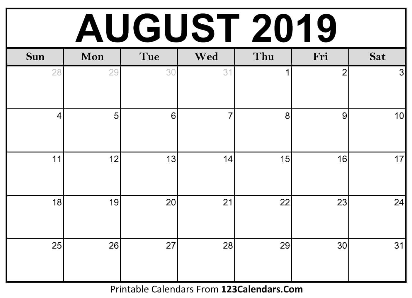 Printable August 2019 Calendar Templates - 123Calendars Calendar Of 2019 August