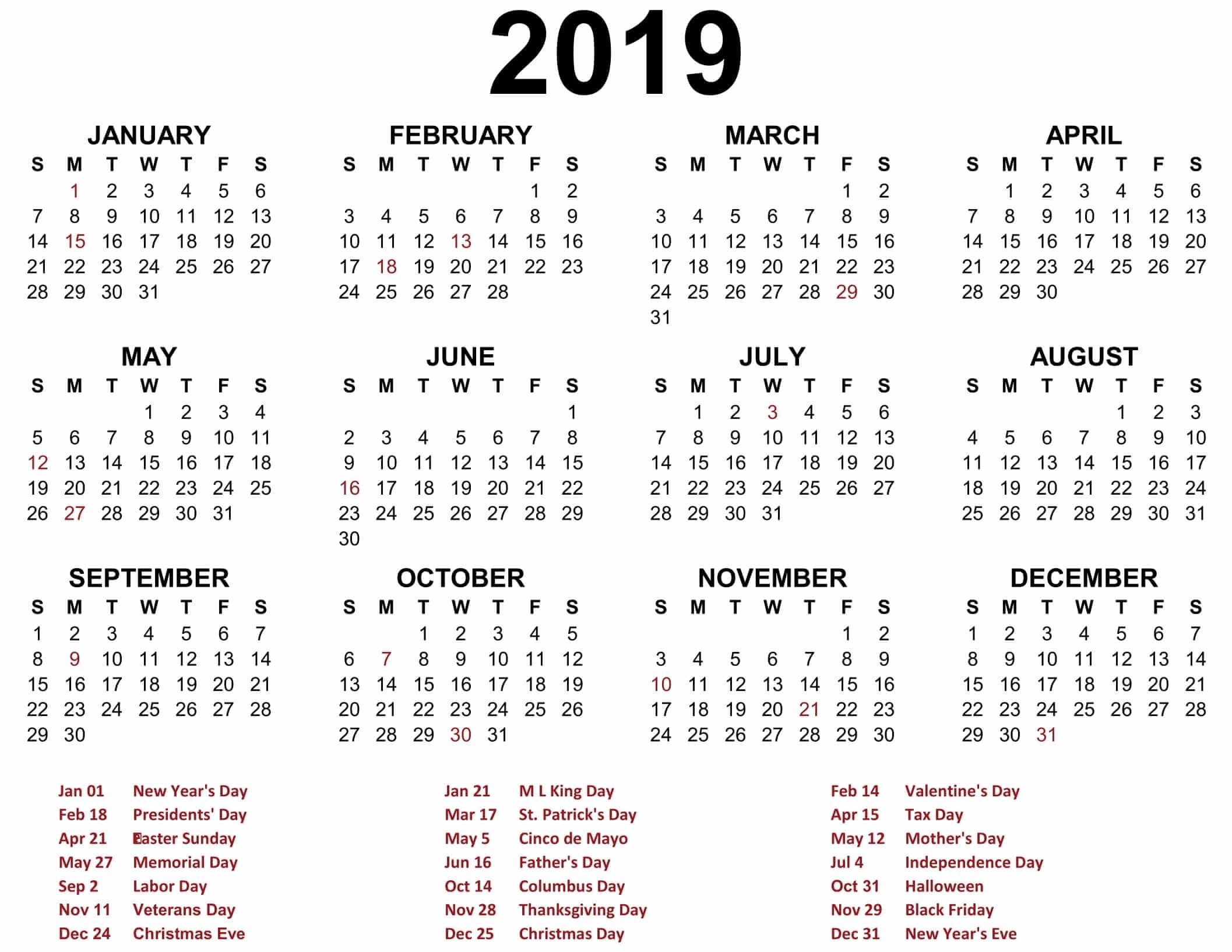 Printable Blank 2019 Calendar Templates - Calenndar 2019 Calendars