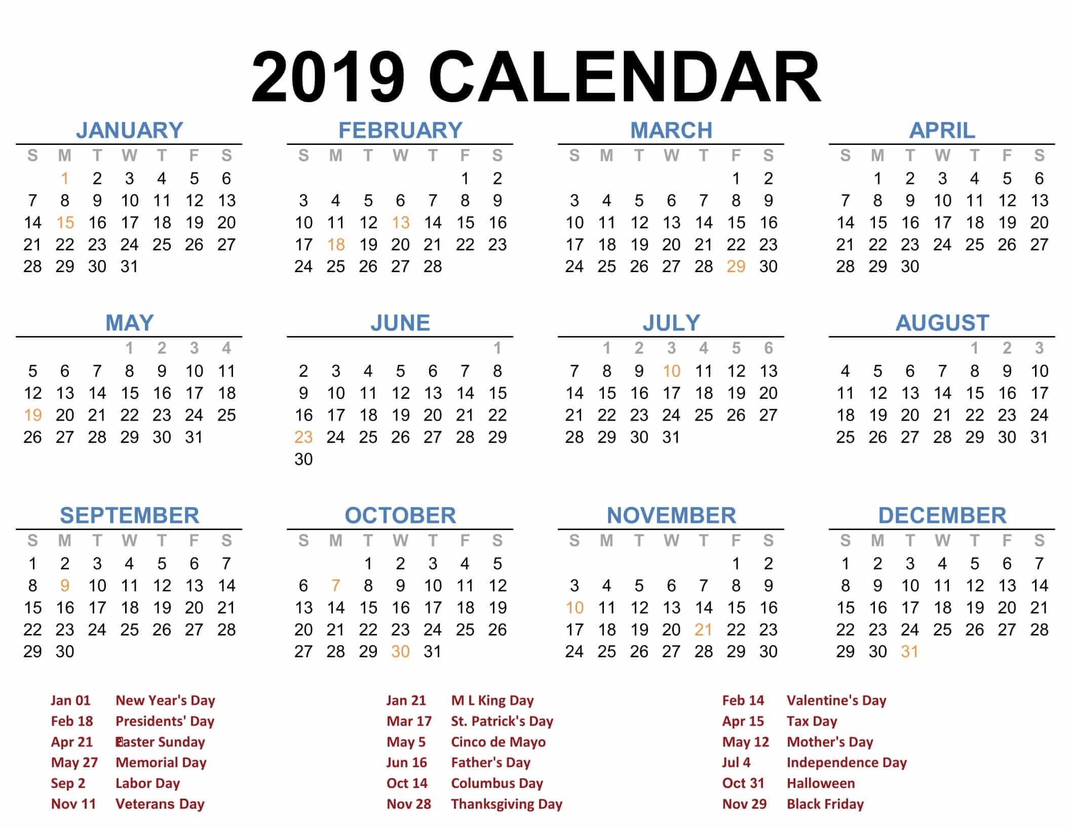 Printable Blank 2019 Calendar Templates - Calenndar Calendar 2019 Yearly Template