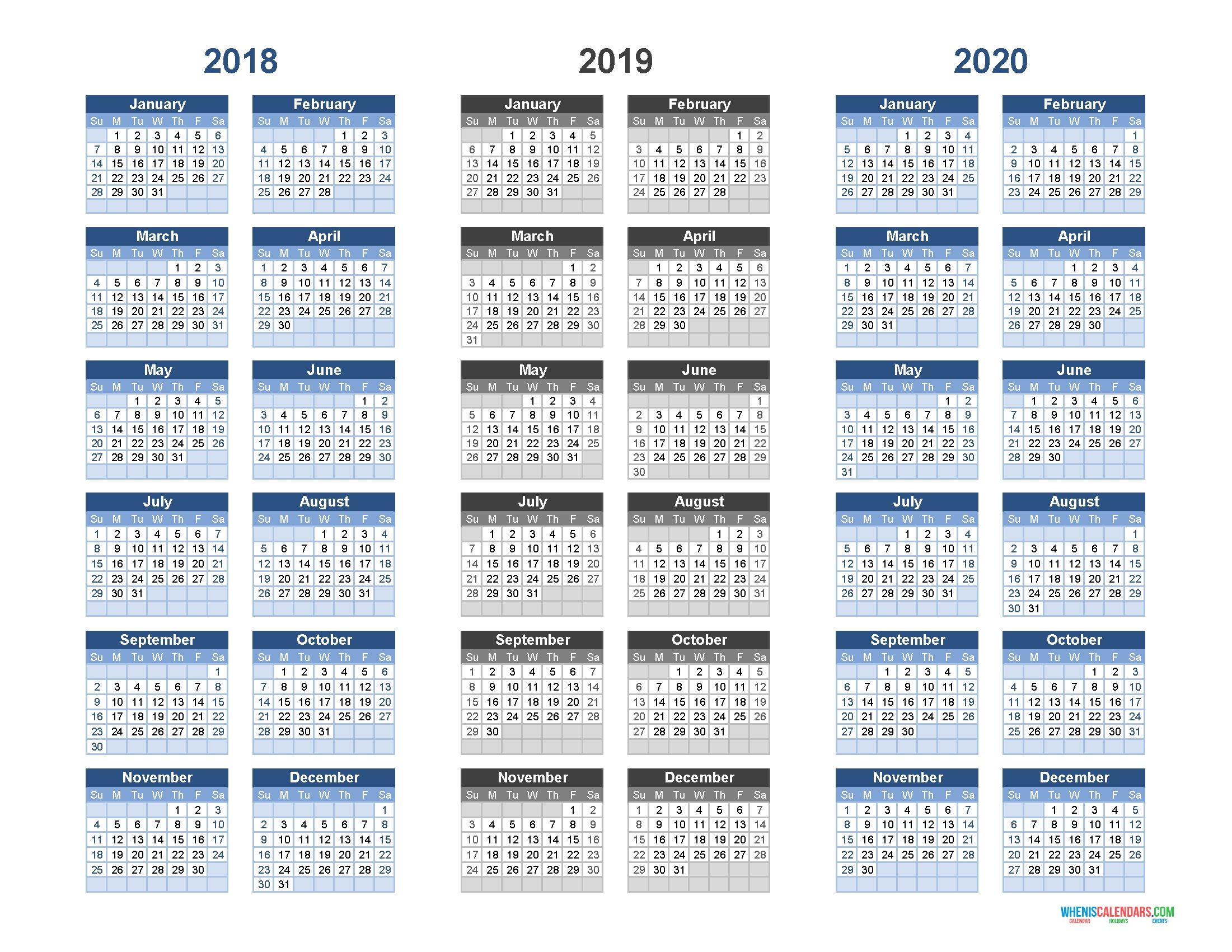 Printable Calendar 2018 2019 And 2020 - 3 Year Calendar | Free 3 Year Calendar 2019