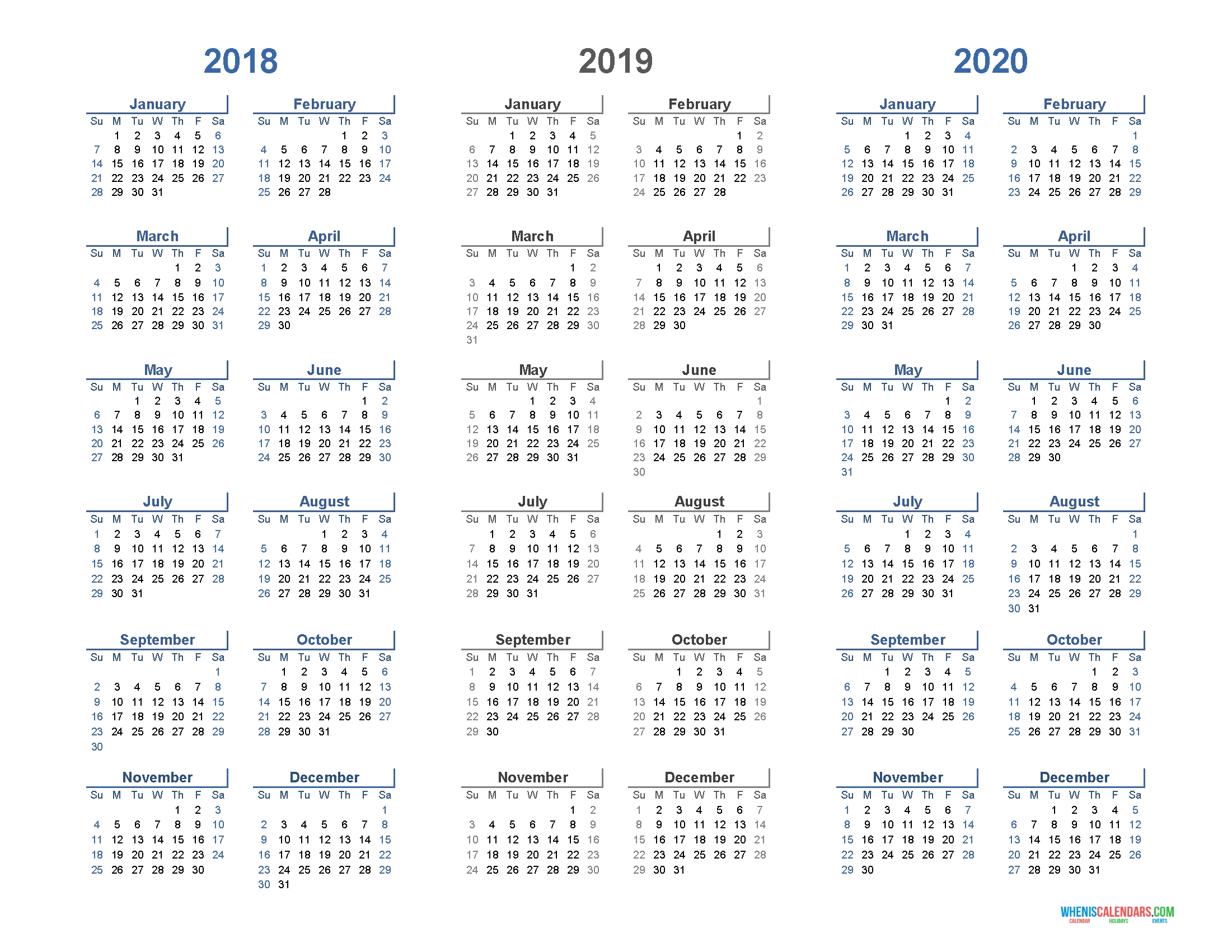 Printable Calendar 2018 2019 And 2020 3 Year Calendar (Light Design 3 Year Calendar 2019