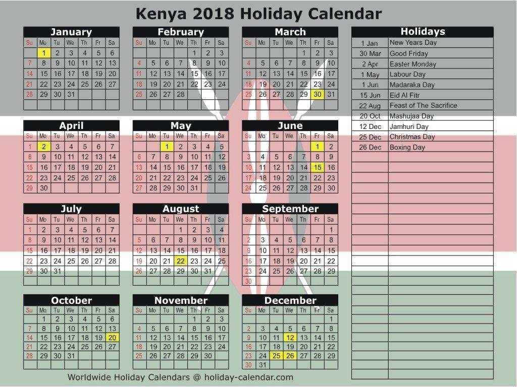 Printable Calendar 2018 Kenya | Printable Calendar 2019 Calendar 2019 Kenya