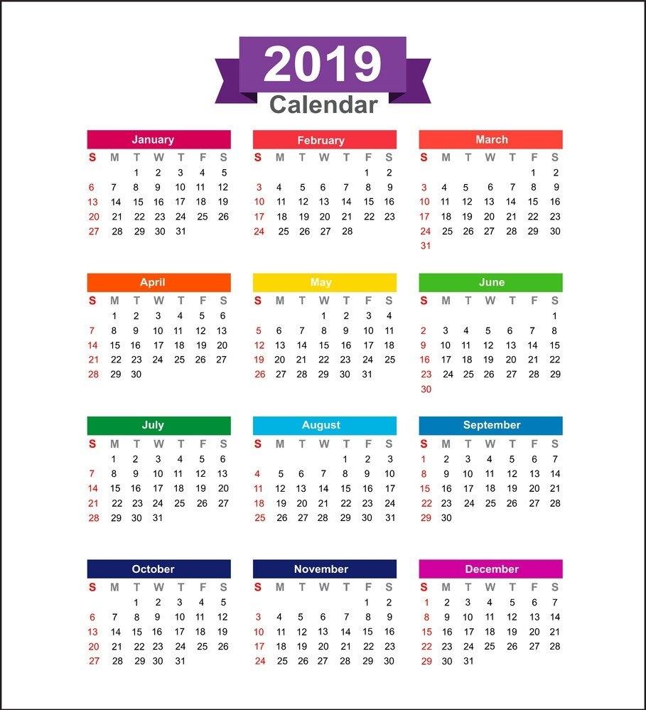 Printable Calendar 2018 Kuwait | Printable Calendar 2019 Calendar 2019 Kuwait