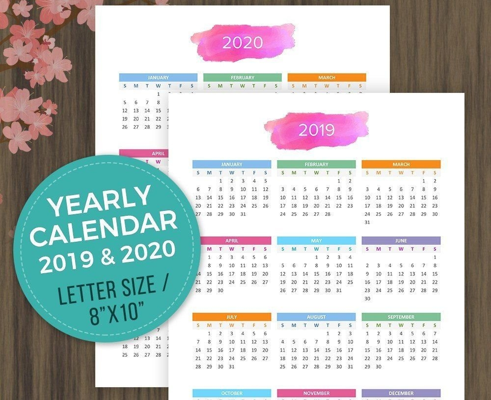 Printable #calendar #2019, #2020 #desktop Calendar, #yearly Wall 8 X 10 2019 Calendar