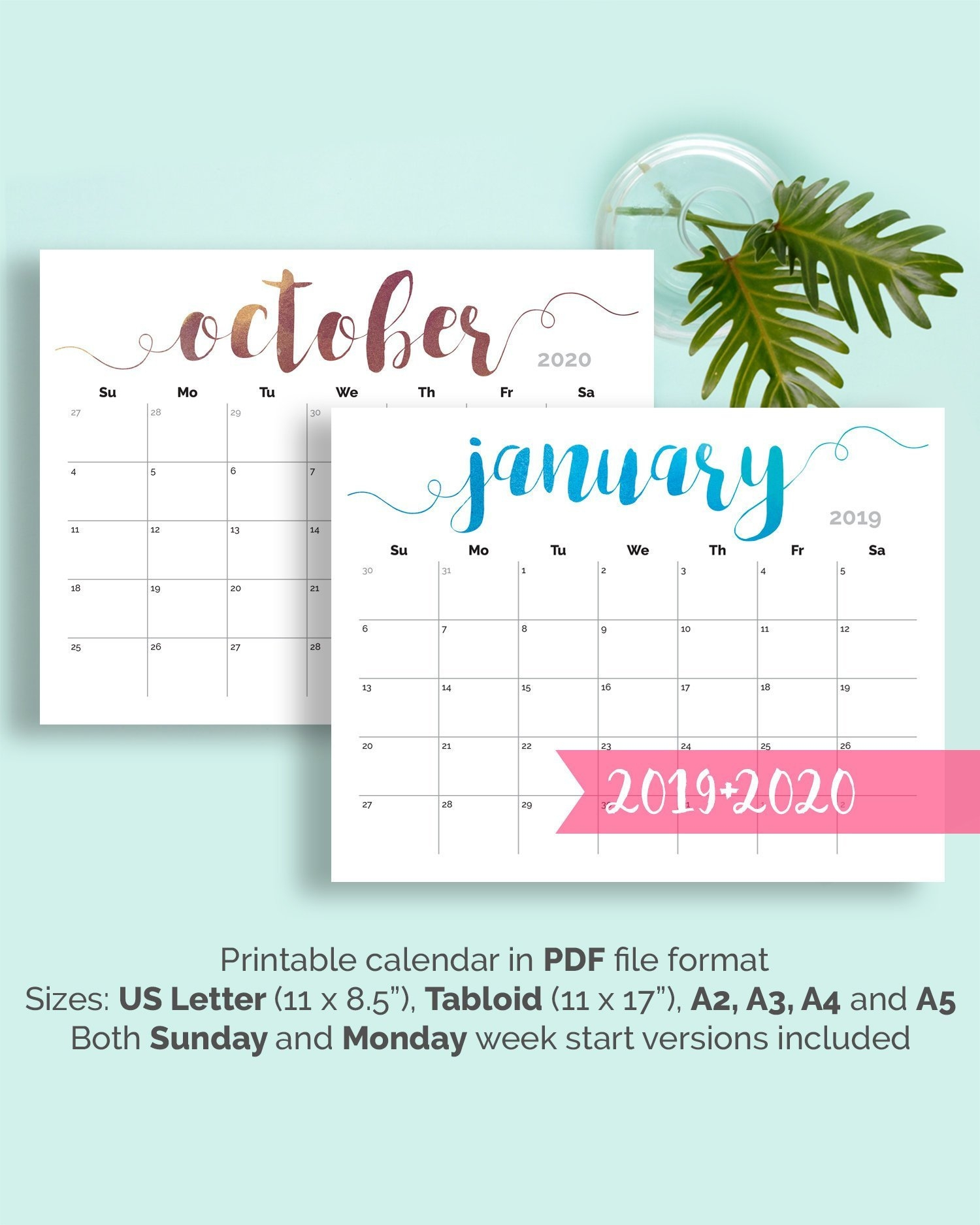 Printable Calendar 2019 Large Wall Calendar 2019-2020 Desk | Etsy School Calendar 2019 Zimbabwe