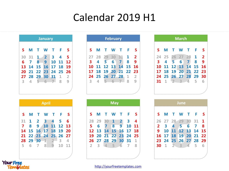 Printable Calendar 2019 Template - Free Powerpoint Templates Calendar 2019 Half Year