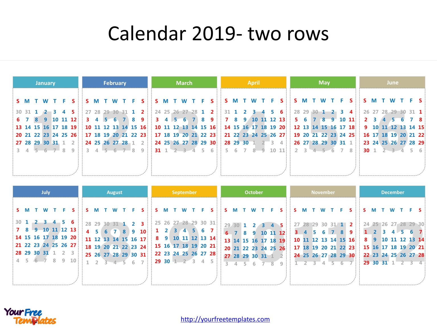 Printable Calendar 2019 Template - Free Powerpoint Templates Calendar 2019 Outline