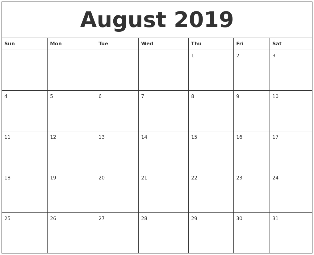 Printable Calendar Template August 2019 | Working With Google Docs Calendar 2019 Google