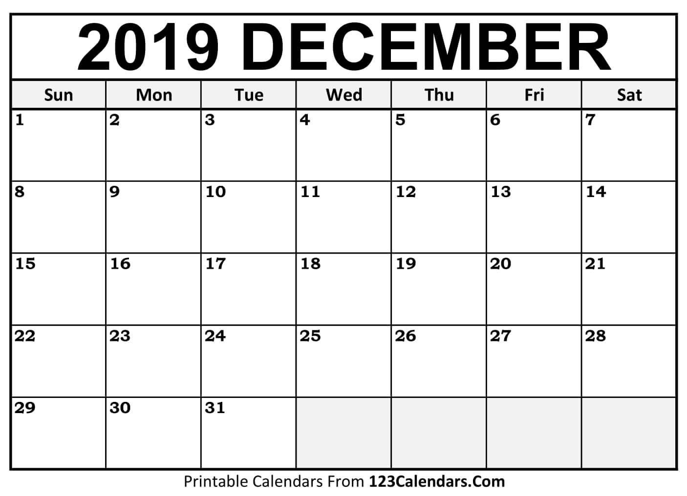 Printable December 2019 Calendar Templates - 123Calendars Calendar 2019 Dec