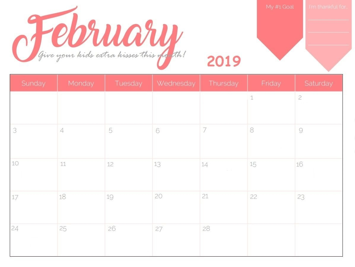 Printable February 2019 Calendar | Calendar 2018 | Calendar, 2019 Calendar 2019 Template