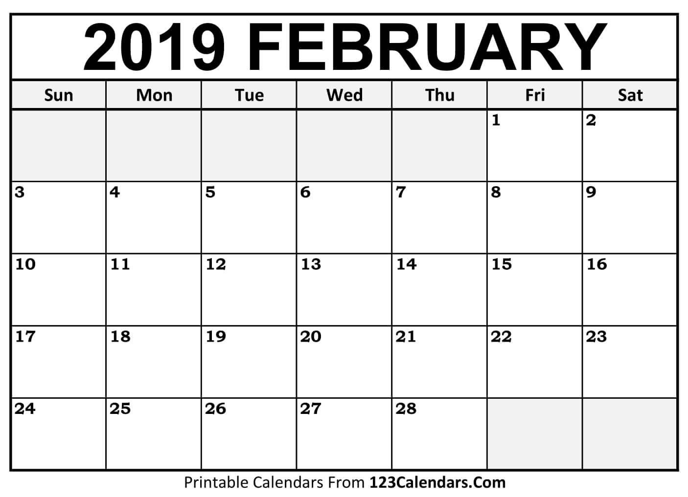 Printable February 2019 Calendar Templates - 123Calendars A Calendar For February 2019