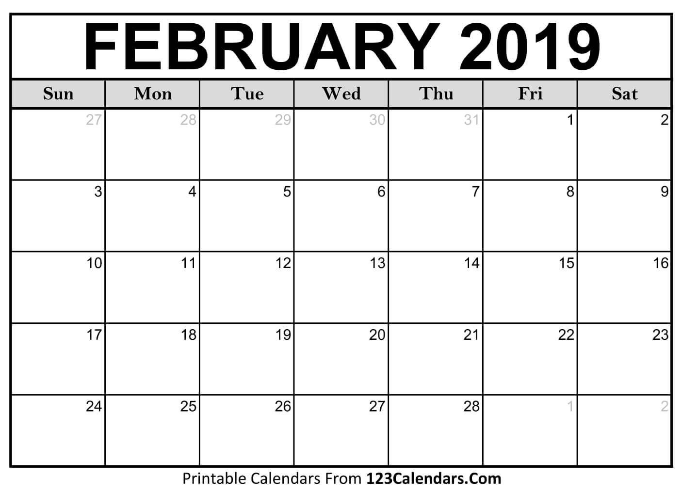 Printable February 2019 Calendar Templates - 123Calendars Calendar 2019 February