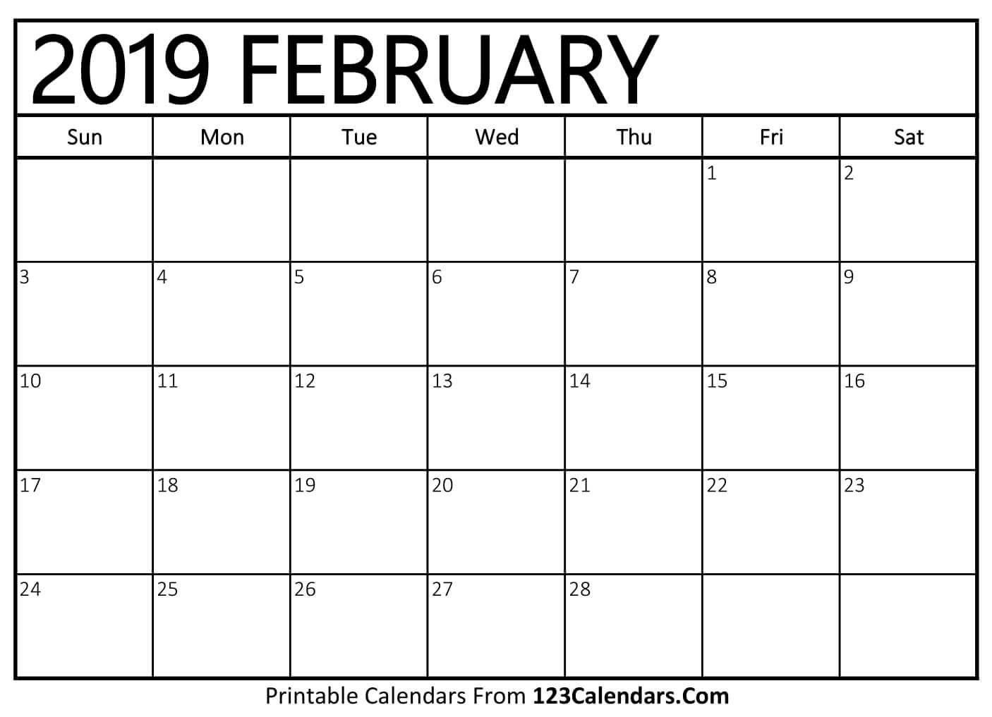 Printable February 2019 Calendar Templates - 123Calendars February 4 2019 Calendar