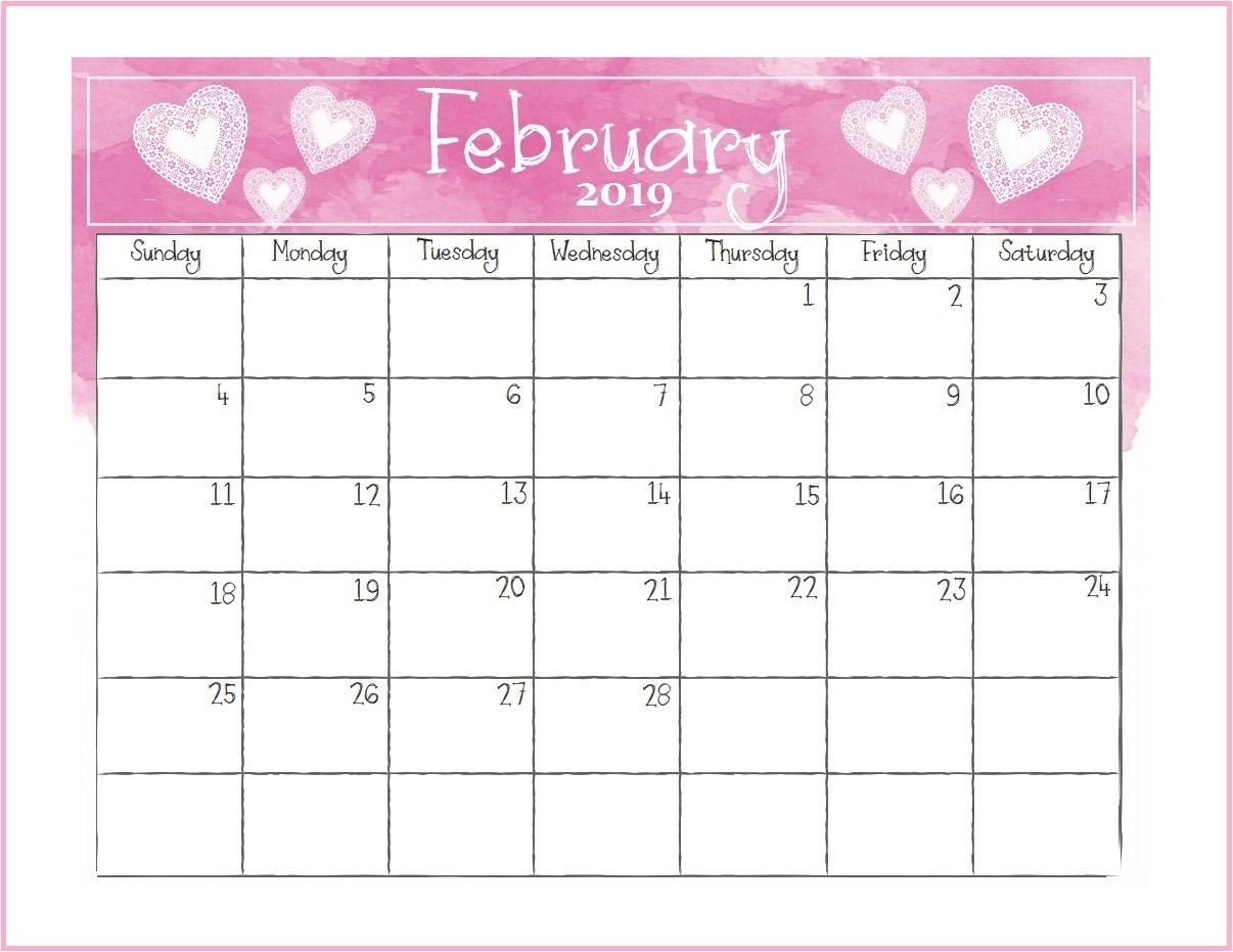 Printable February 2019 Desk Calendar | Monthly Calendar Templates Rock N Roll Calendar 2019