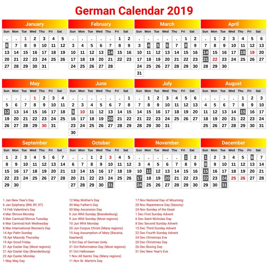 Printable Germany 2019 Calendar | 2019 Calendars | 2019 Calendar Calendar 2019 Germany