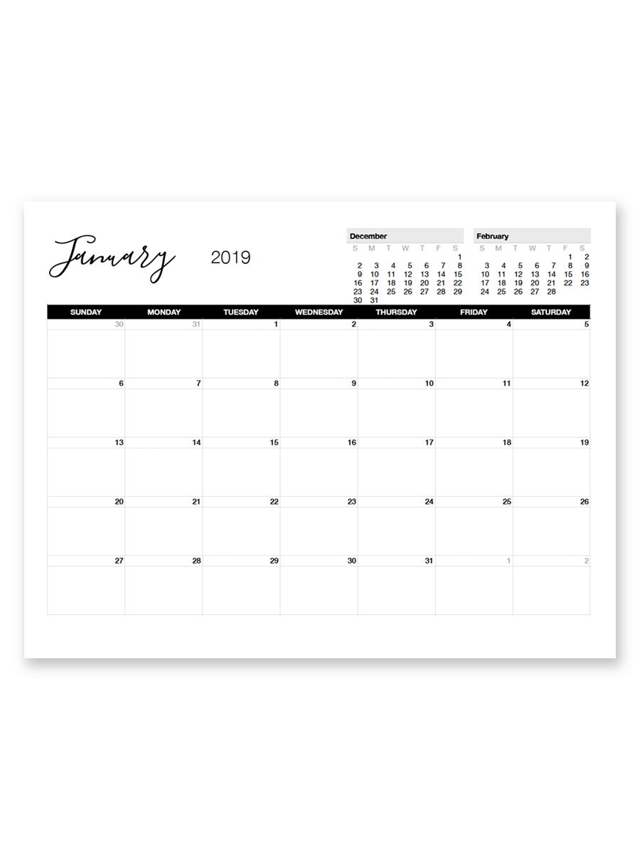 Printable January 2019 Calendar | Printables | Pinterest | Calendar 2019 Calendar 8.5 X 11 Printable