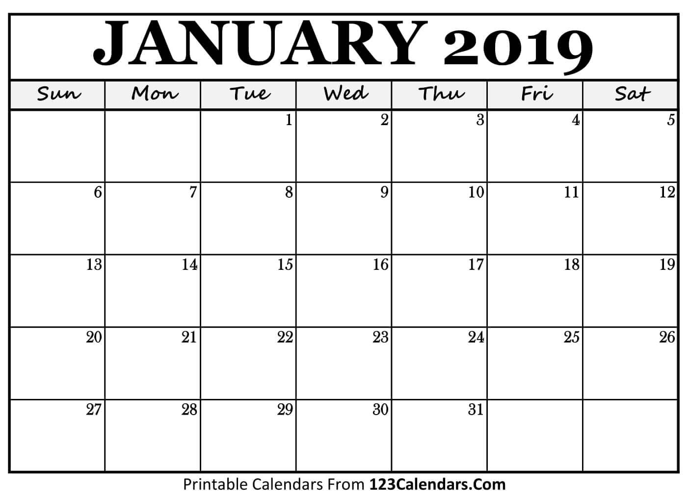 Printable January 2019 Calendar Templates - 123Calendars Calendar 2019 Jan