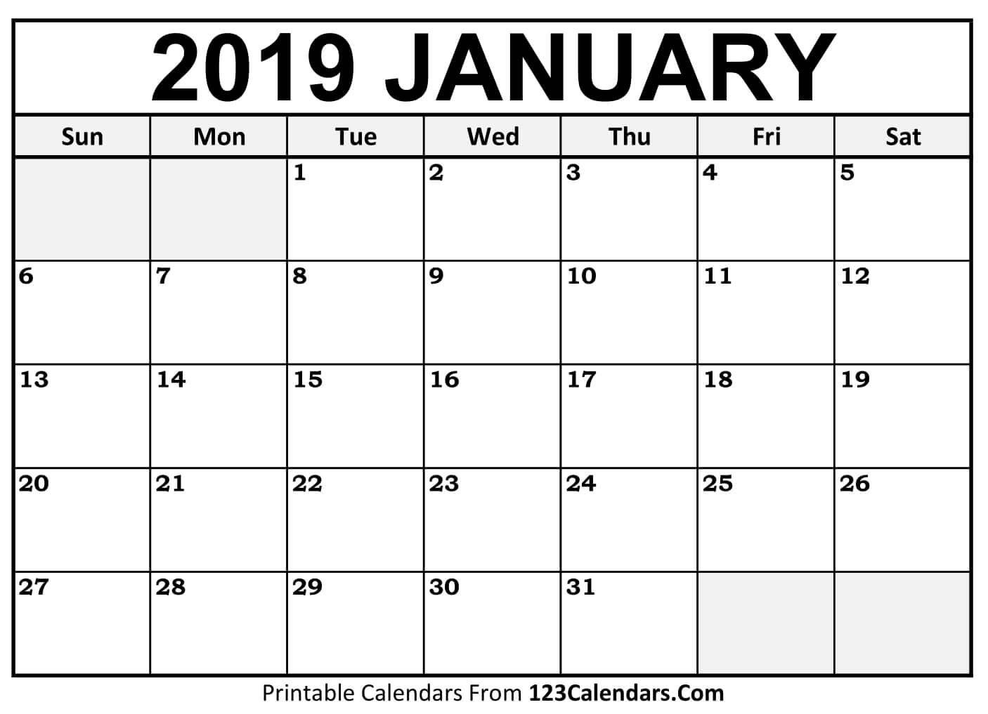 Printable January 2019 Calendar Templates - 123Calendars Calendar 2019 January