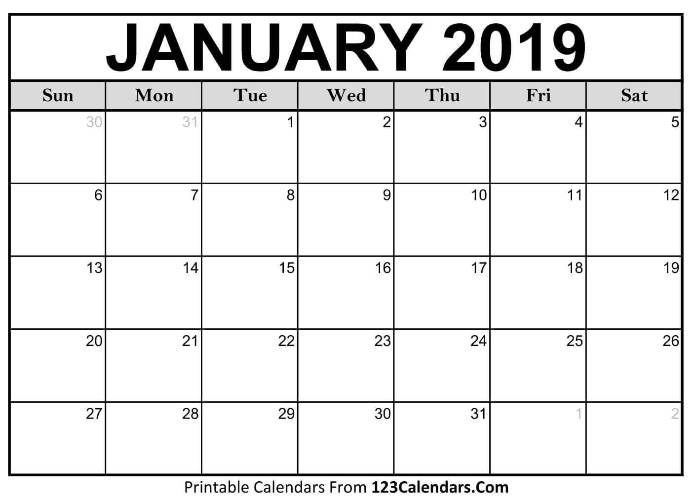 Printable January 2019 Calendar Templates - 123Calendars Calendar 2019 January