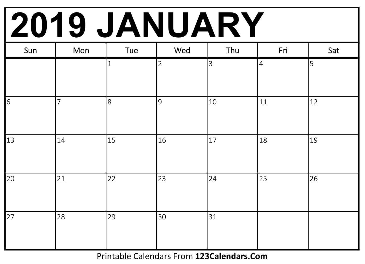 Printable January 2019 Calendar Templates - 123Calendars Jan 4 2019 Calendar