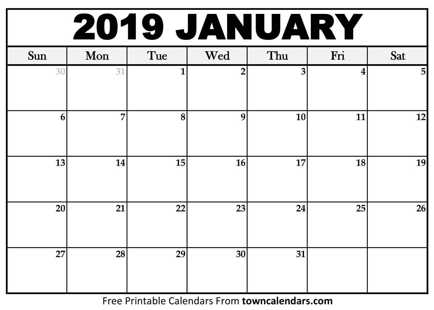 Printable January 2019 Calendar - Towncalendars Calendar 2019 January