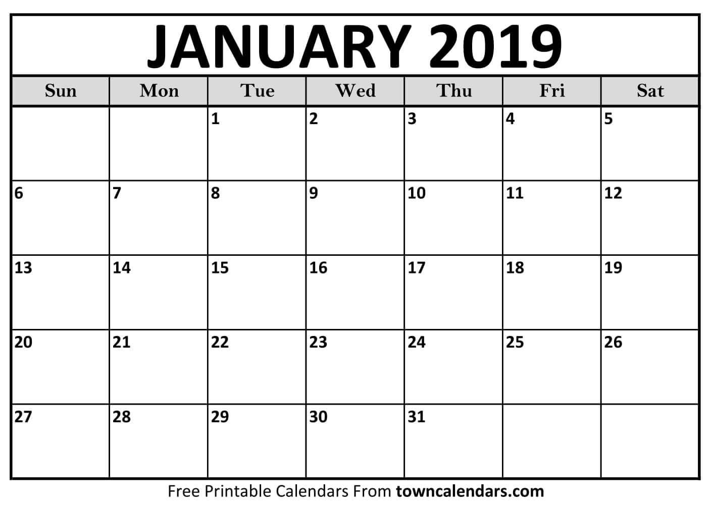 Printable January 2019 Calendar - Towncalendars Jan 4 2019 Calendar