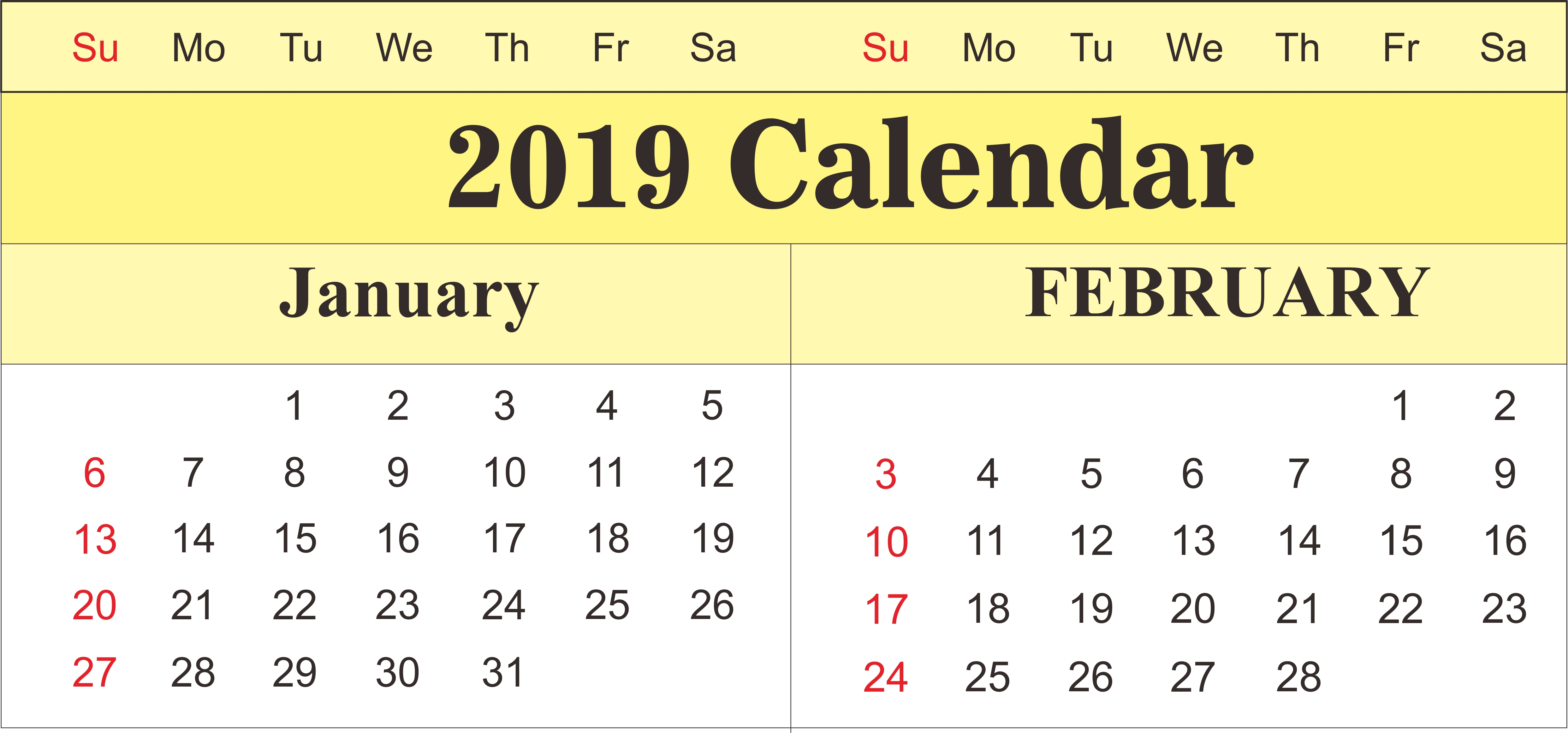 Printable January And February 2019 Calendar | 250+ February 2019 Feb 9 2019 Calendar