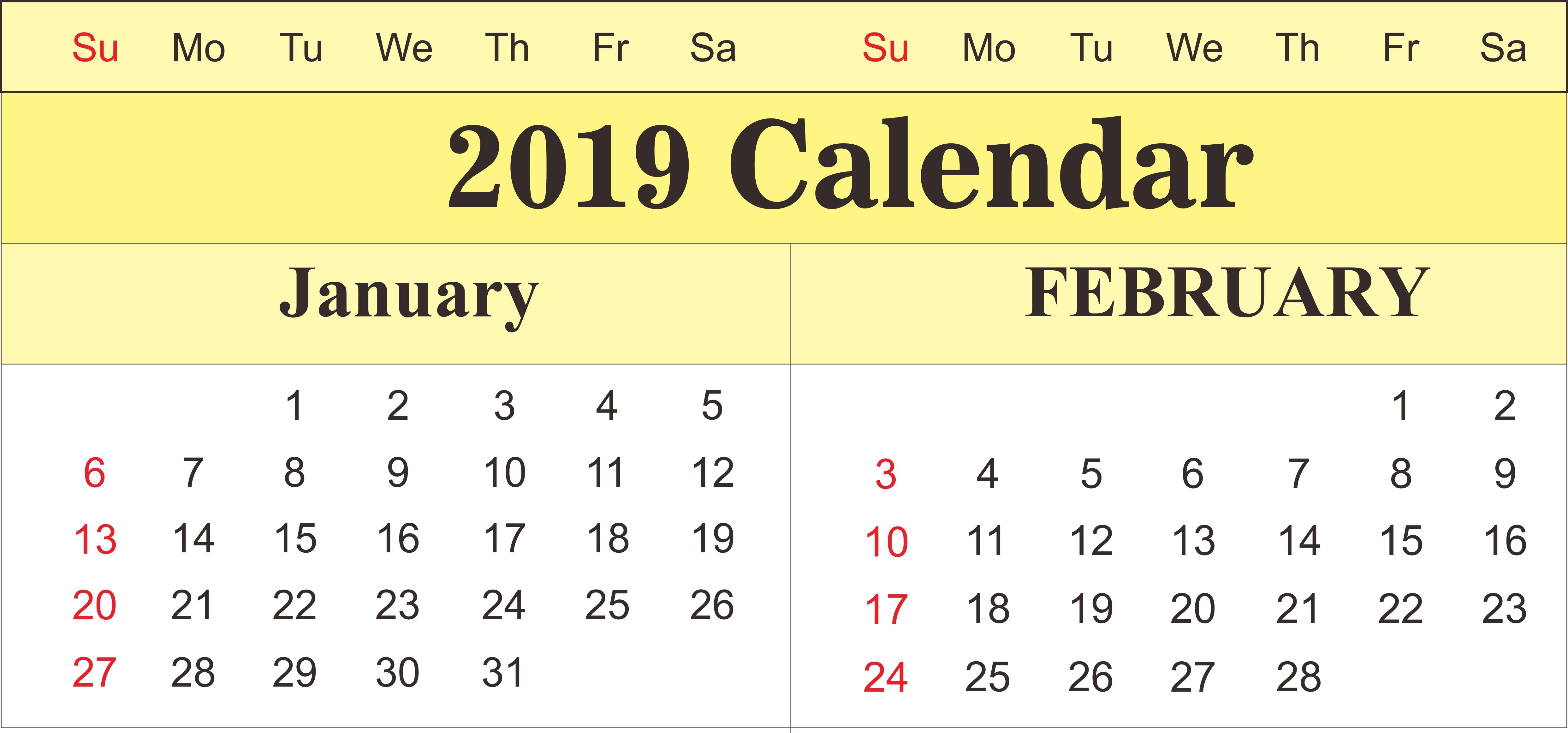 Printable January And February 2019 Calendar | 250+ February 2019 February 4 2019 Calendar