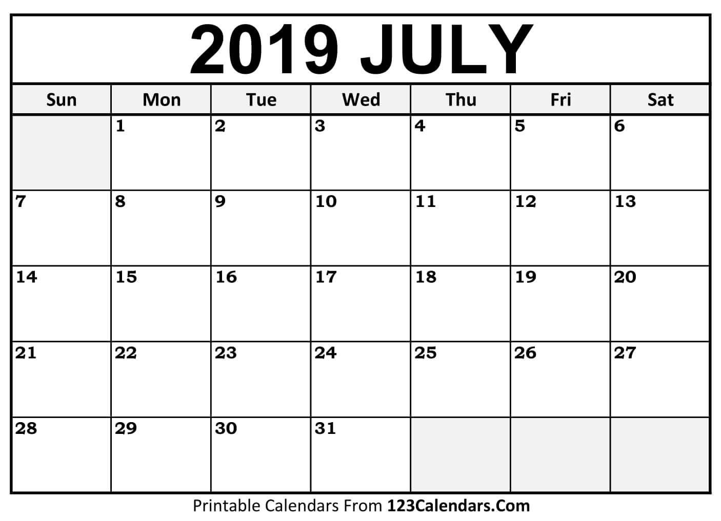Printable July 2019 Calendar Templates - 123Calendars July 2 2019 Calendar