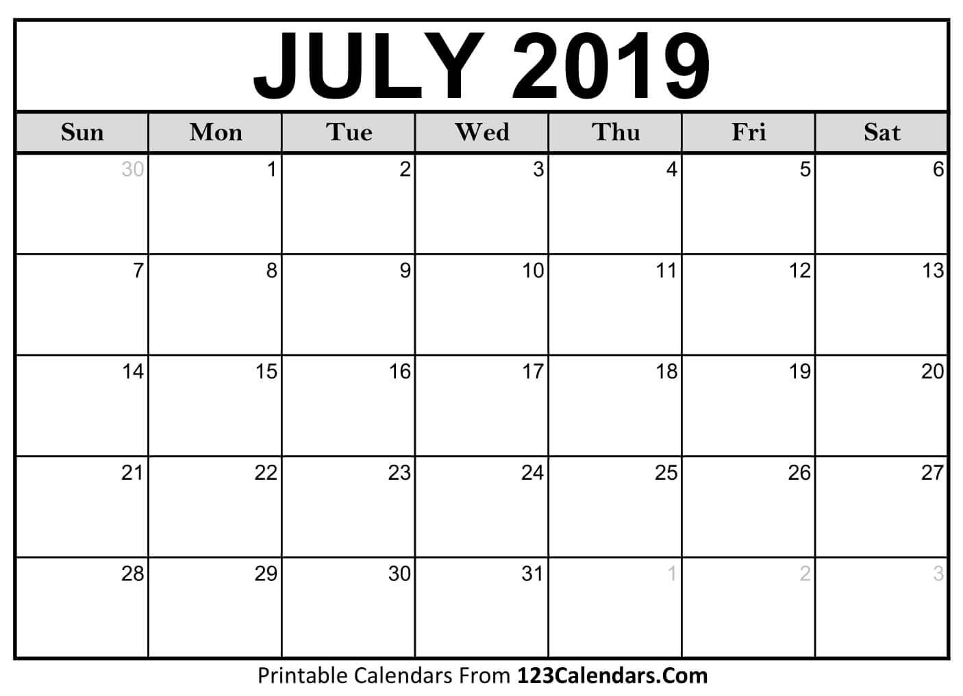 Printable July 2019 Calendar Templates - 123Calendars July 2019 Calendar