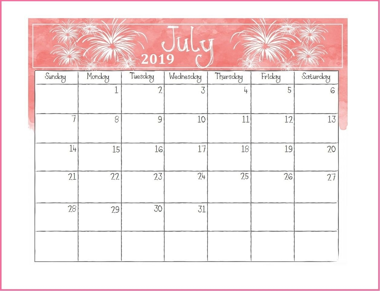 Printable July 2019 Desk Calendar | Calendars | Desk Calendars Rock N Roll Calendar 2019