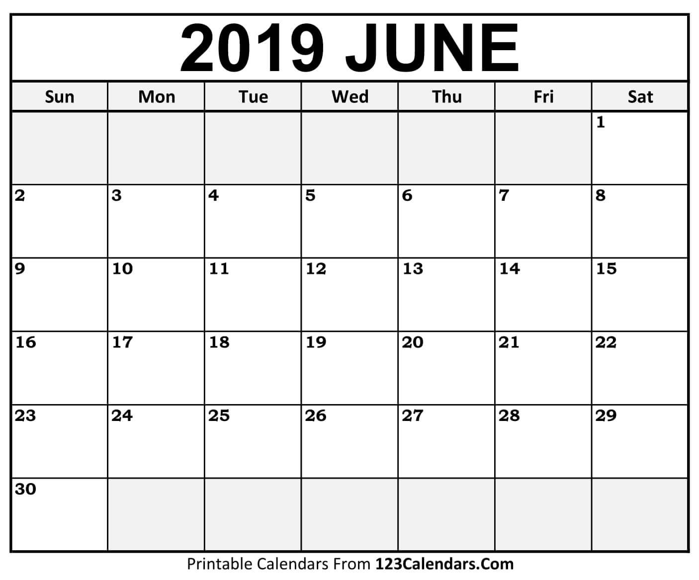 Printable June 2019 Calendar Templates - 123Calendars Calendar 2019 June