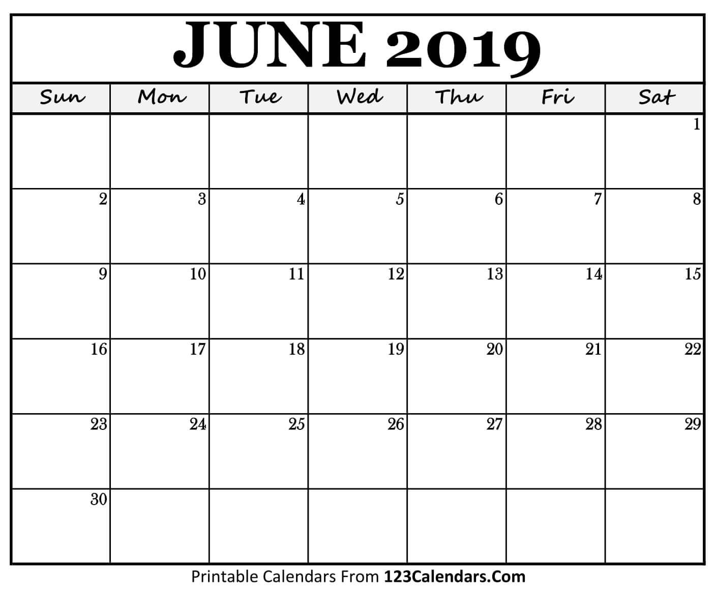 Printable June 2019 Calendar Templates – 123Calendars Calendar 2019 June