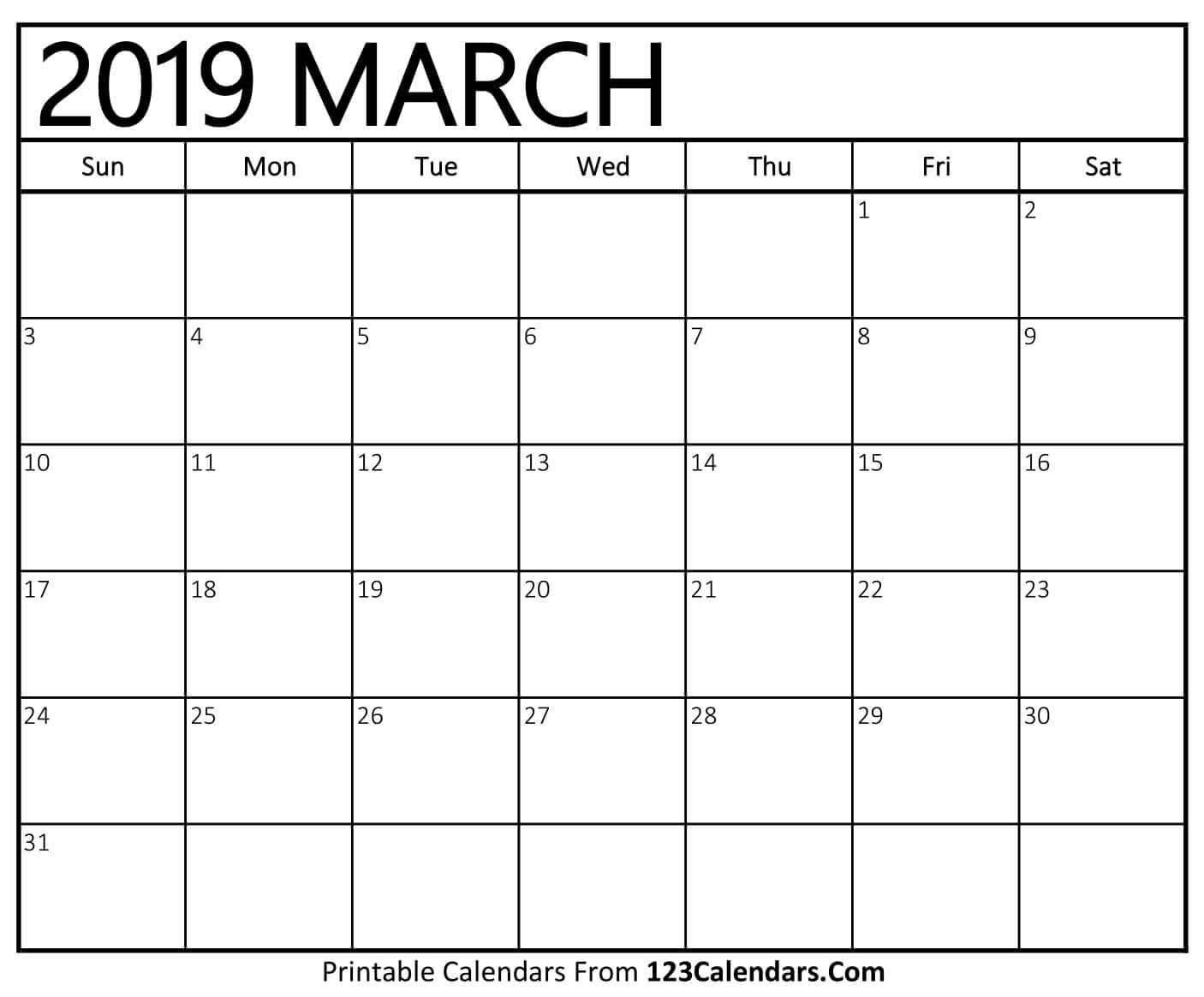 Printable March 2019 Calendar Templates - 123Calendars Calendar 2019 March