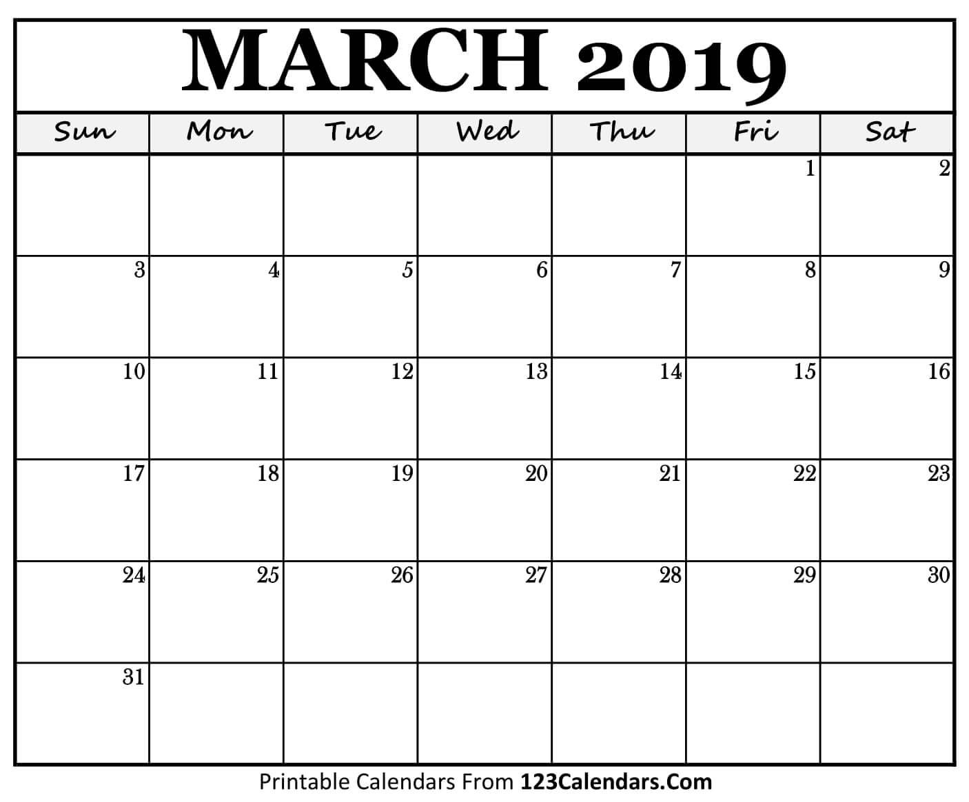 Printable March 2019 Calendar Templates - 123Calendars Calendar 2019 March Printable