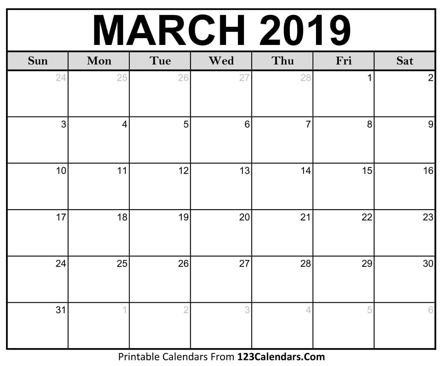Printable March 2019 Calendar Templates - 123Calendars Calendar 2019 March Printable