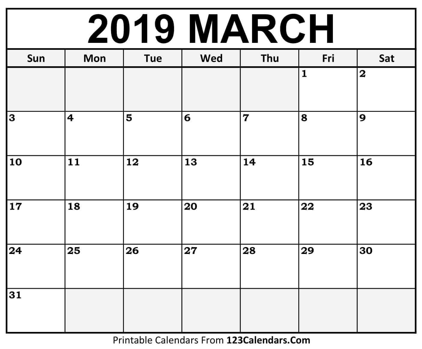 Printable March 2019 Calendar Templates - 123Calendars Calendar Of 2019 March