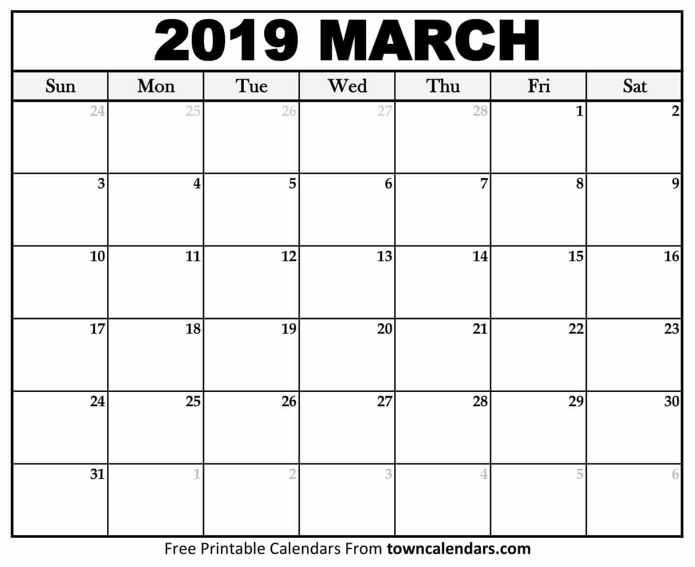 Printable March 2019 Calendar - Towncalendars March 2 2019 Calendar