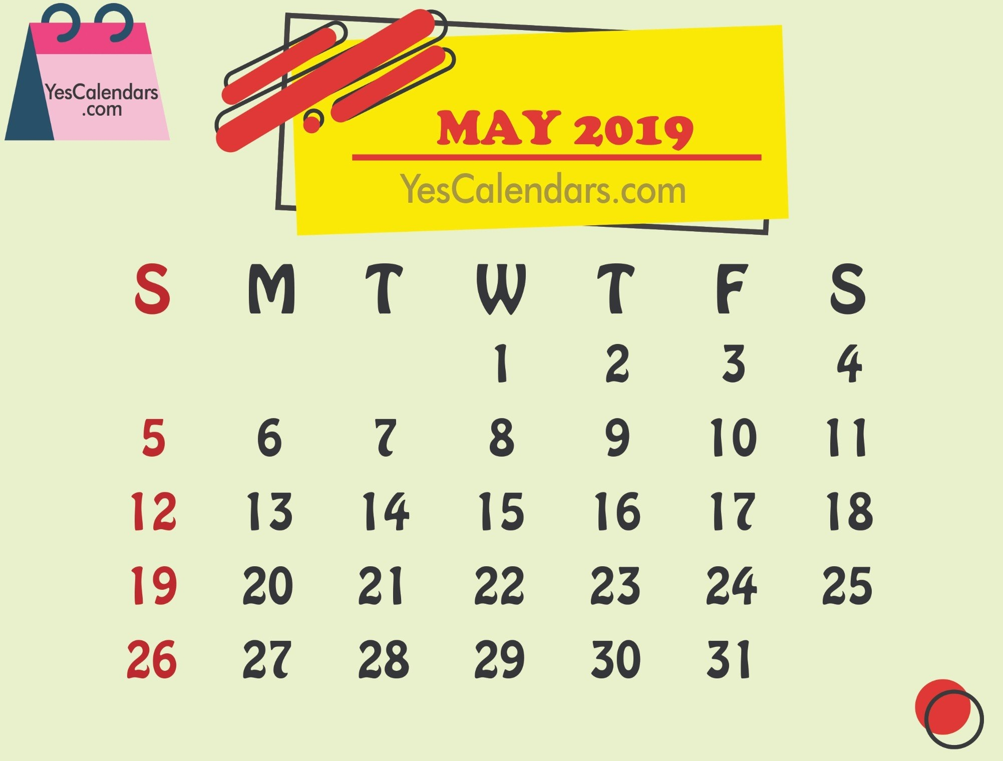 Printable May 2019 Calendar Template Holidays - Yes Calendars May 5 2019 Calendar
