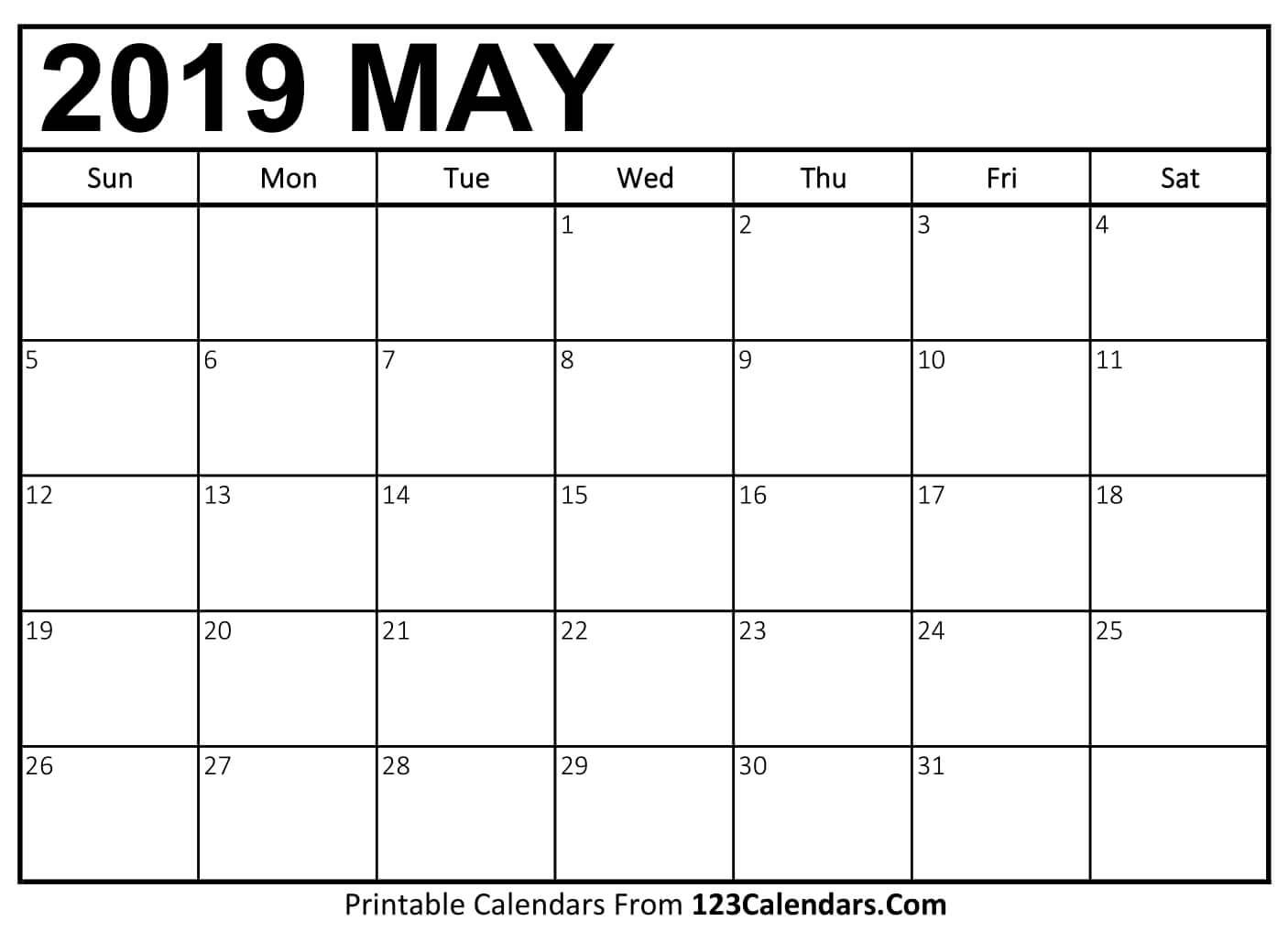 Printable May 2019 Calendar Templates - 123Calendars Calendar 2019 May