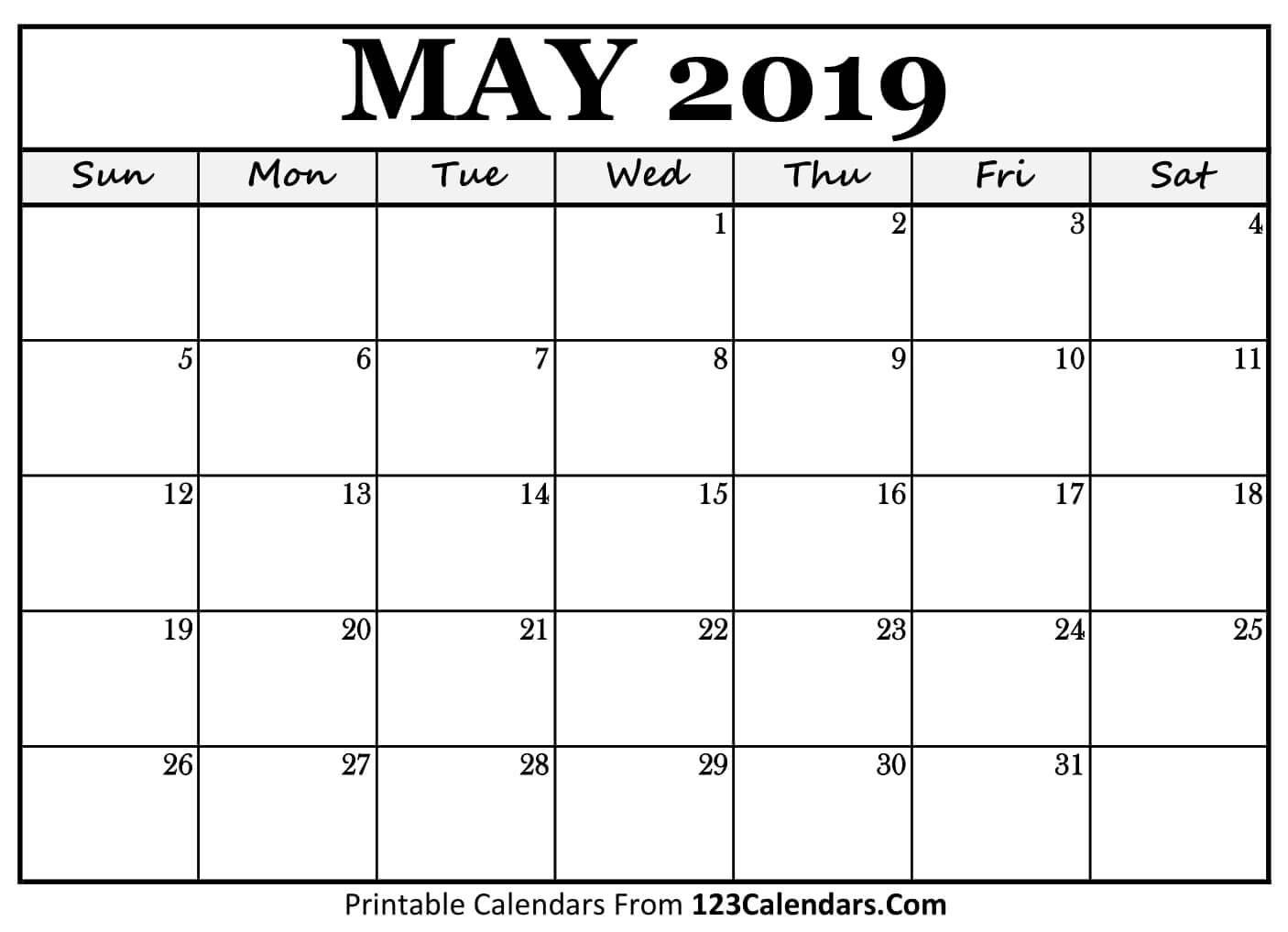 Printable May 2019 Calendar Templates - 123Calendars Calendar May 3 2019