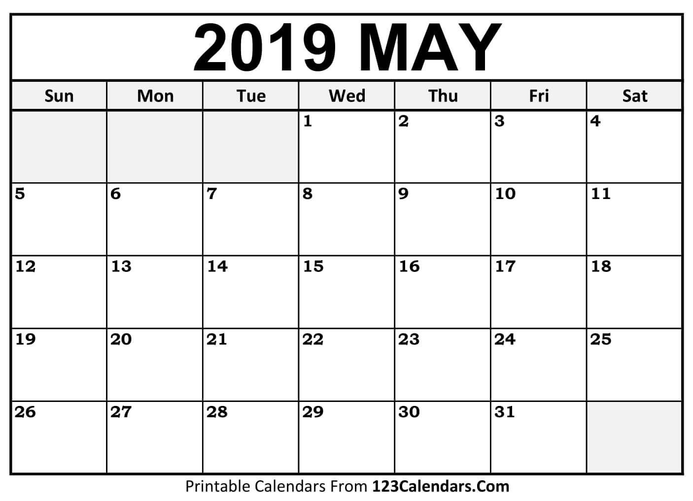 Printable May 2019 Calendar Templates - 123Calendars Calendar May 4 2019