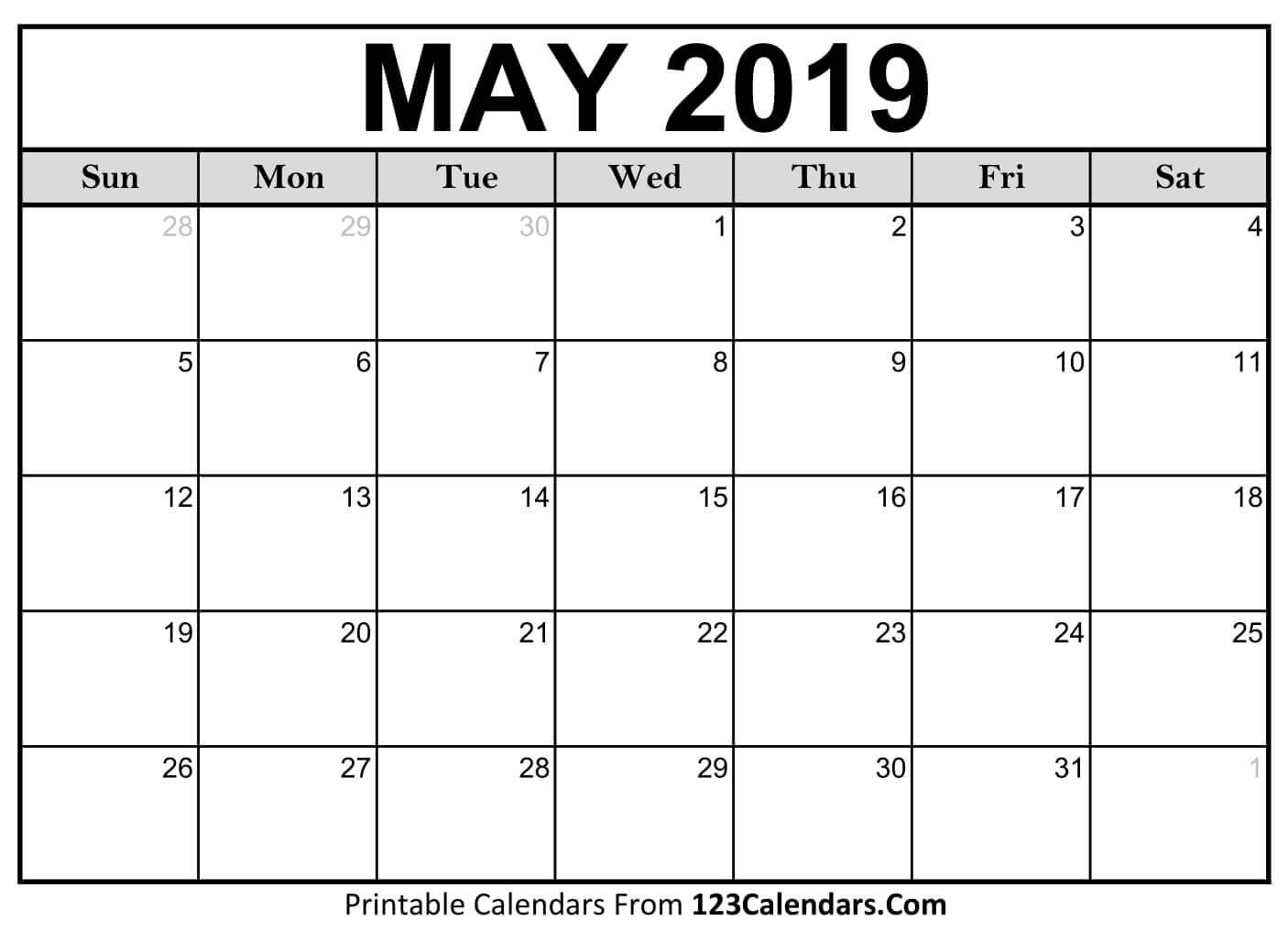 Printable May 2019 Calendar Templates - 123Calendars May 1 2019 Calendar